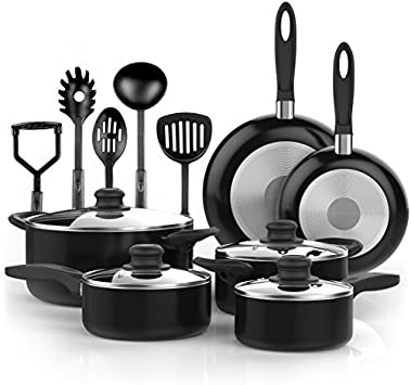 Vremi 15 Piece Nonstick Cookware Set – Durable Aluminum Pots and Pans with Cooking Utensils – Oven Safe Multi Quart Enameled Saucepans Dutch Ovens and Fry Pans with Glass Lid – Black