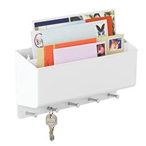mDesign Wall Mount Plastic Divided Mail Organizer Storage Basket - 2 Sections, 5 Metal Peg Hooks - for Entryway, Mudroom, Hallway, Kitchen, Office - Holds Letters, Magazines, Coats, Keys - White