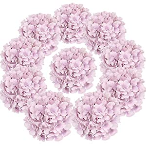 Flojery Silk Hydrangea Heads Artificial Flowers Heads with Stems for Home Wedding Decor,Pack of 10 (Violet)