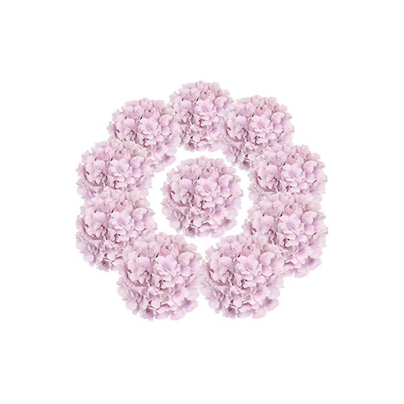 silk flower arrangements flojery silk hydrangea heads artificial flowers heads with stems for home wedding decor,pack of 10 (violet)