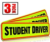 """Student Driver Magnet Car Signs for The Novice or Beginner. Better Than A Decal or Bumper Sticker (Reusable) Reflective Magnetic Large Bold Visible Text (12"""" Student Driver Reflective)"""