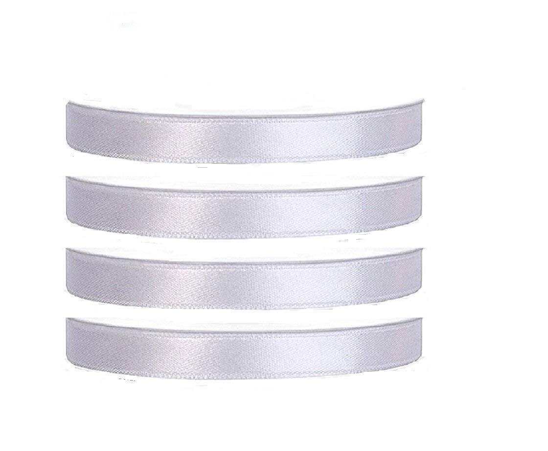 4 Rouleaux de 25M x 6MM Ruban Satin Blanc Bande Ruban pour Deco Mariage Artisanat Emballage Cadeau