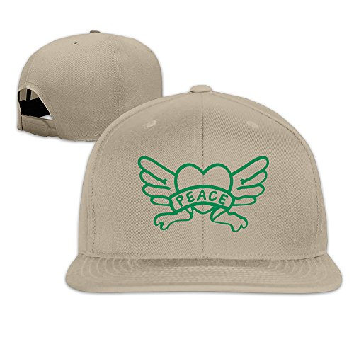 VOLTEBQ Angels' Heart Wings Flat Bill Breathable Adjustable Cap Hat Snapback Natural (Where To Buy Angel Wings)