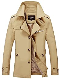 Mens Autumn Military Slim Fit Casual Turn Down Collar Jacket Parka Trench Coats