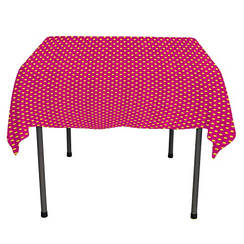 (Girls Decor, Waterproof Table CoverPolka Dots Vintage Textured Classical Lovely Feminine Nostalgic Design, for Outdoor and Indoor Use, 50x50 Inch Hot Pink Yellow)