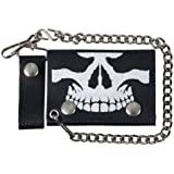 """Hot Leathers (WLB1010 BLACK, 4"""") Skull Leather Wallet"""