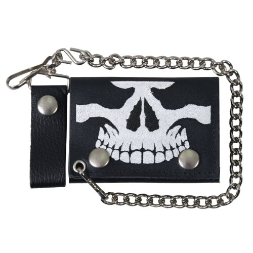 Hot Leathers Skull Leather Wallet (Black, ()