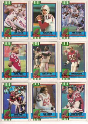 New England Patroits 1990 Topps Football Band Set (Stee Grogan) (Marc Wilson) (John Stephens) (Hart Lee Dykes) (Stanley Morgan) (Andre Tippett) (Sean Ferrell) (Johnny Rembert) (Robert Perryman) (Boston)