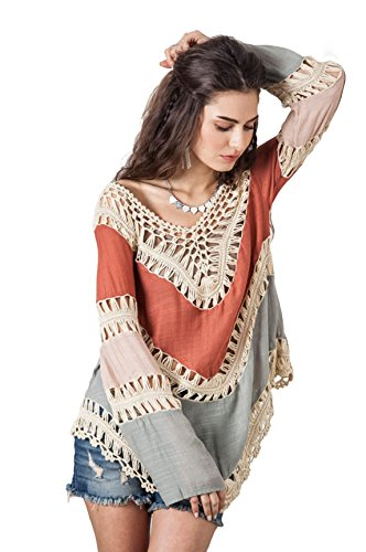 Vanbuy Women's Bohemian V Neck Crochet Tunic Tops Peasant Blouse Shirt Hollow Out Beach Coverup Z01-Orange