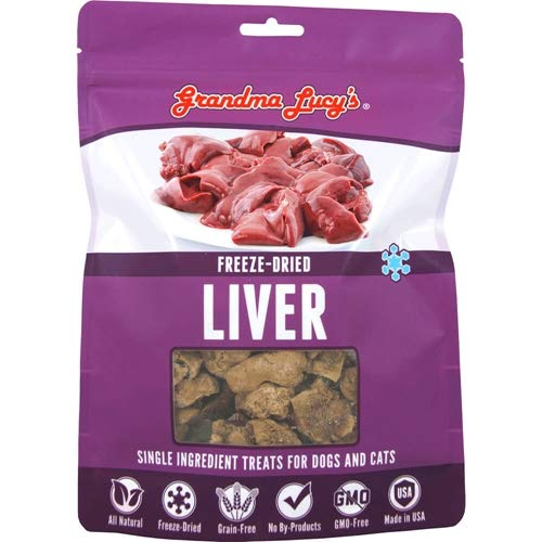 Grandma Lucy's Singles Pet Treat, Freeze-Dried Single Ingredient Treats for Dogs and Cats - Liver, 2.5 oz