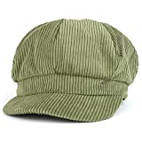 Trendy Apparel Shop Corduroy Textured Newsboy Style Cheyenne Cap - Olive