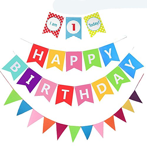 Monord Rainbow Happy 1st Birthday Banner, Rainbow One High Chair Banner for First Birthday Rainbow.]()