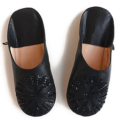 Slippers Spangle Sheepskin Babouche Black Dear Morocco n4FvqvS