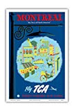 Montreal - The Paris of North America - Fly TCA (Trans-Canada Air Lines) - Vintage Airline Travel Poster by Jacques Le Flaguais c.1952 - Master Art Print - 12in x 18in