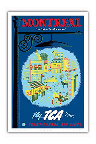 (Montreal - The Paris of North America - Fly TCA (Trans-Canada Air Lines) - Vintage Airline Travel Poster by Jacques Le Flaguais c.1952 - Master Art Print - 12in x 18in)