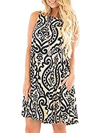 Women's Summer Sleeveless Bohemian Print Tunic Swing...
