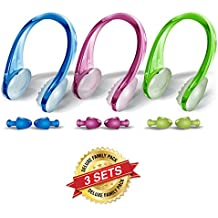 Swimming Nose clips and Earplugs Mega set of 3 Family Pack Pro Edition By BLUPOND