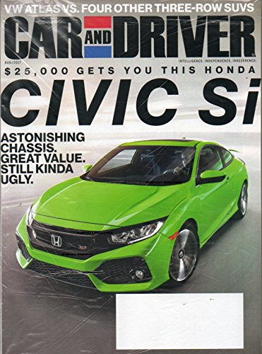 Car and Driver Name Label on 2017 Magazine Blank UNOPENED IN ORIGINAL PLASTIC WRAPPER WITH 303 PROTECTANT SANPLE $25,000 Gets You This Honda Civic Si VW ATLAS vs. FOUR OTHER THREE-ROW SUVS
