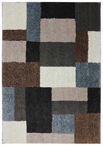 Mohawk Home Huxley Franklin Geometric Woven Shag Area Rug, 5'x7', Grey and (Mohawk Shag)