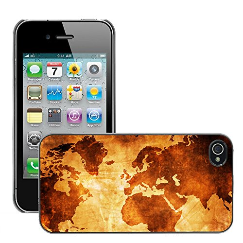 Premio Sottile Slim Cassa Custodia Case Cover Shell // V00001985 monde Carte de la // Apple iPhone 4 4S 4G
