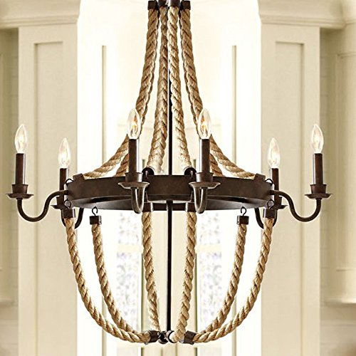 Pipe Suspension Lamp (BAYCHEER HL371841 Vintage Industrial Style Circle Rope Loft Suspension Pendant Lights Chandelier Celling Lamp Hanging Light Fixture with Black Metal Shade for Indoor Warehouse Barn use 6 E12 Bulbs)