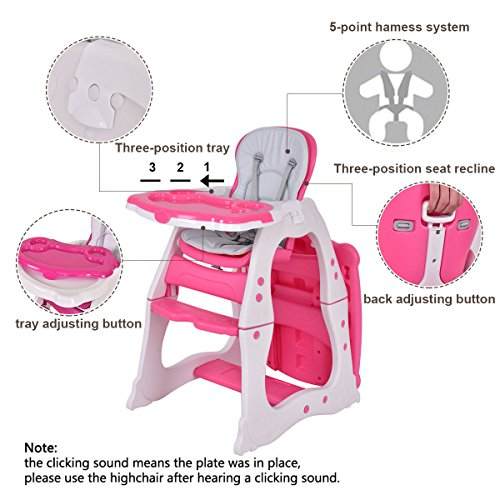 Costzon 3 in 1 Baby High Chair Desk Convertible Play Table Conversion Seat Booster (Pink) by Costzon (Image #2)