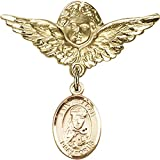 14kt Yellow Gold Baby Badge with St. Sarah Charm and Angel w/Wings Badge Pin 1 1/8 X 1 1/8 inches