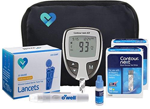 Contour NEXT Diabetes Testing Kit, 100 Count   Contour NEXT EZ Meter, 100 Contour NEXT Blood Glucose Test Strips, 100 Lancets, Lancing Device, Control Solution, Manual's, Log Book & Carry Case