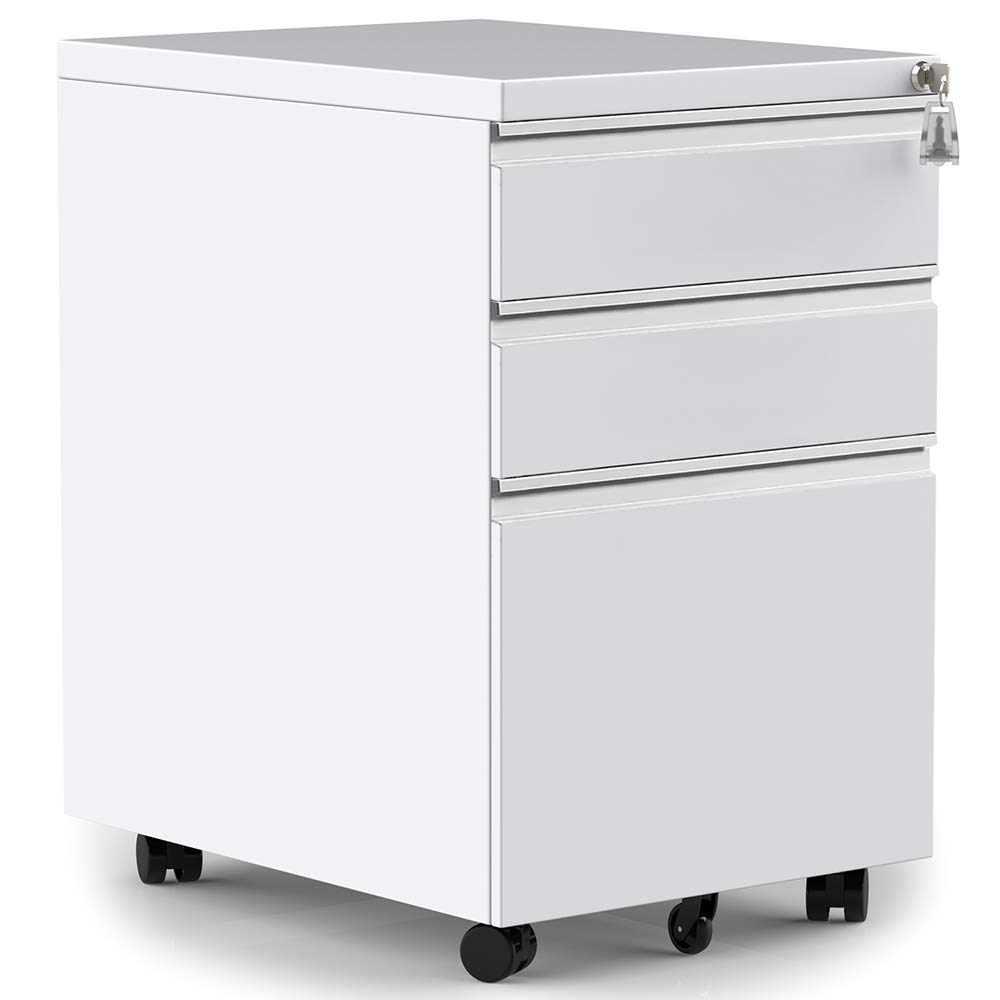 Merax 3-Drawer Mobile File Cabinet with Keys, Fully Assembled Except Casters (White) by Merax