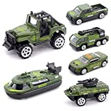 Mini Die-cast Metal Playset Military Vehicle Models Toys Set for Kids, Military ladder truck, yacht, sedan car, Pickup truck, Jeep Truck, Armored Car (Army)
