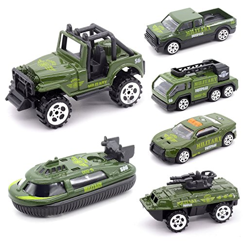 izery Mini Die-cast Metal Playset Military Vehicle Models Toys Set for Kids, Military ladder truck, yacht, sedan car, Pickup truck, Jeep Truck, Armored Car (Army)