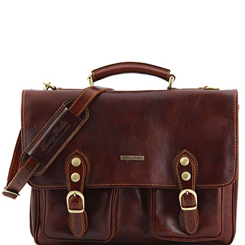 Tuscany Leather - Modena - Leather briefcase 2 compartments Brown - (Two Compartment Briefcase)