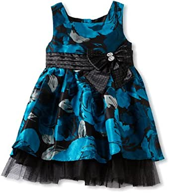 Youngland Little Girls' Sleeveless Printed Floral Dress, Blue Black, 4T