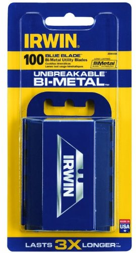 5 Pack Irwin 2084400 Bi-Metal BLUE BLADE Utility Knife Blades 100 per Package (500 Total Blades)