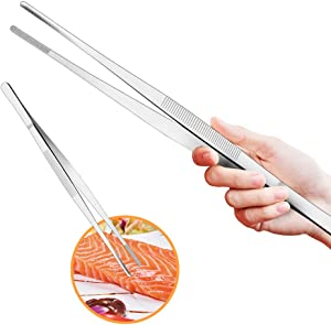 Cyimi Kitchen Tweezers Tongs Stainless Steel 12 Inch Long Tweezers Heavy Duty large food tweezers with Precision Serrated Tips for Cooking and Medical (12