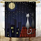 Shower Curtains with Fish on Them AmaPark Hotel Quality Mold Resistant Fabric Shower Curtain Cats on The Roof Couple Valentines Kitty Night Full Starry Sky Waterproof NYL4on - Soft as Silk - Mildew Resistant 69 x 72 inches