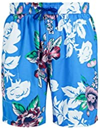 Men Hawaiian Swim Trunks Quick Dry Board Shorts with Tropical Floral Print