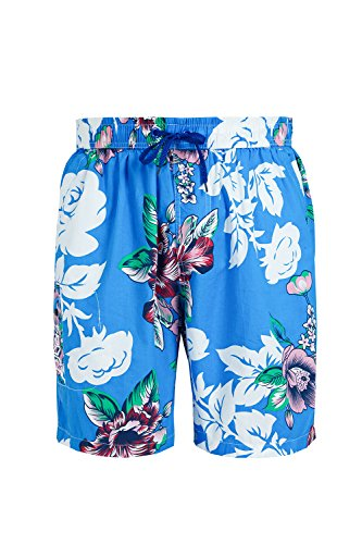Hawaiian Board - Trifuness Men Hawaiian Swim Trunks Quick Dry Board Shorts with Tropical Floral Print