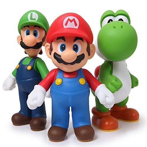 Guote 3pcs/set Super Mario Bros Luigi Mario Yoshi PVC Action Figures Toy 4.7'' Tall by Guote