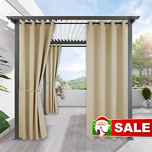 RYB HOME Outdoor Curtains for Patio - Pergola Curtain Indoor Outdoor Waterproof Curtains, Grommet Blackout for Pavilion Gazebo Porch Décor, 1 Panel, 52 inches Wide x 84 inches Long, Biscotti Beige (Small Patio Pergola)