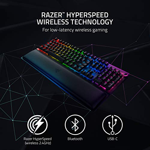 Razer BlackWidow V3 Pro Mechanical Wireless Gaming Keyboard: Green Mechanical Switches - Tactile & Clicky - Chroma RGB Lighting - Doubleshot ABS Keycaps - Transparent Switch Housing - Bluetooth/2.4GHz