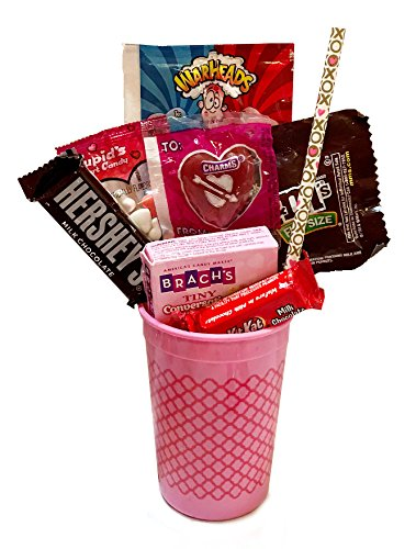 Favorite Chocolate Gift Sets Valentines - Fun Valentine's Day Candies - Valentines Day Candy Cups (Pink Patterned Cup)