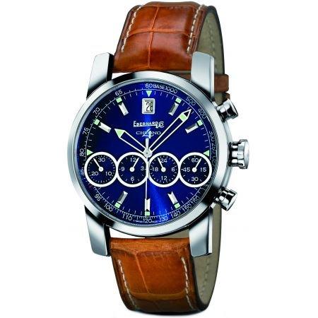 Reloj Eberhard Acero Piel Esfera Azul, Crono, 4 esferas: Amazon.es: Relojes
