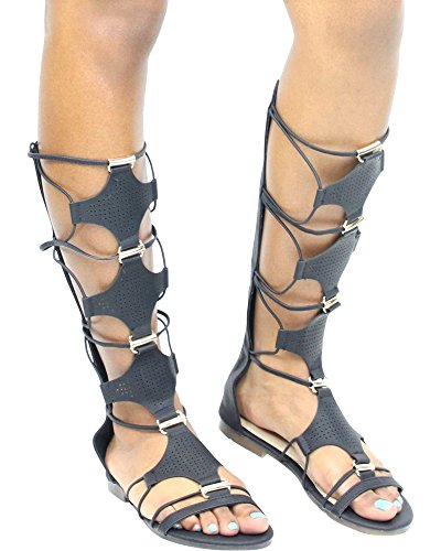 Extreme Womens Lace Up/Elastic Gladiator Casual Fashion Sandals Black R87WTOnY