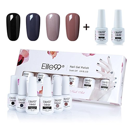 Elite99 Gel Nail Polish Set Soak Off UV LED Gel Polish with Top Coat Base Coat Nail Art Gift Box Set of 6 8ml C031