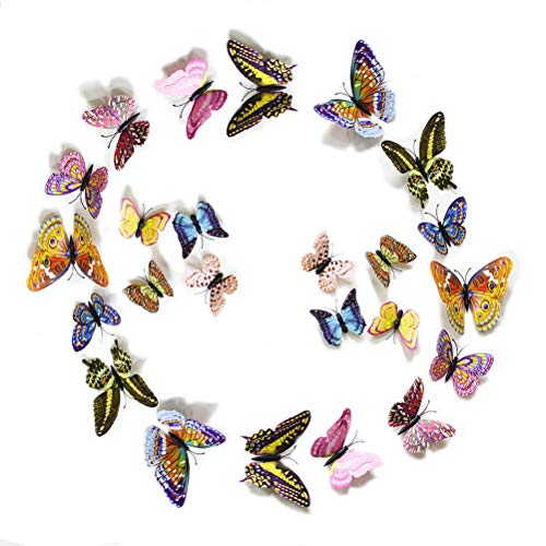FiveRen 24pcs 2-Pack 3D Double Wings Luminous Butterfly Design Decal Art Wall Stickers Room Magnetic Home Decor - Multicolor