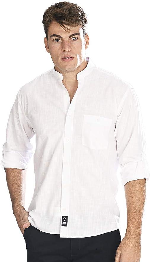 Camisa Manga Larga con Tejido Tipo Lino Blanco y Cuello Mao para Hombre: Amazon.es: Ropa y accesorios