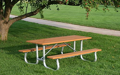 Frog Furnishings Galvanized Frame Picnic Table, 8', Brown