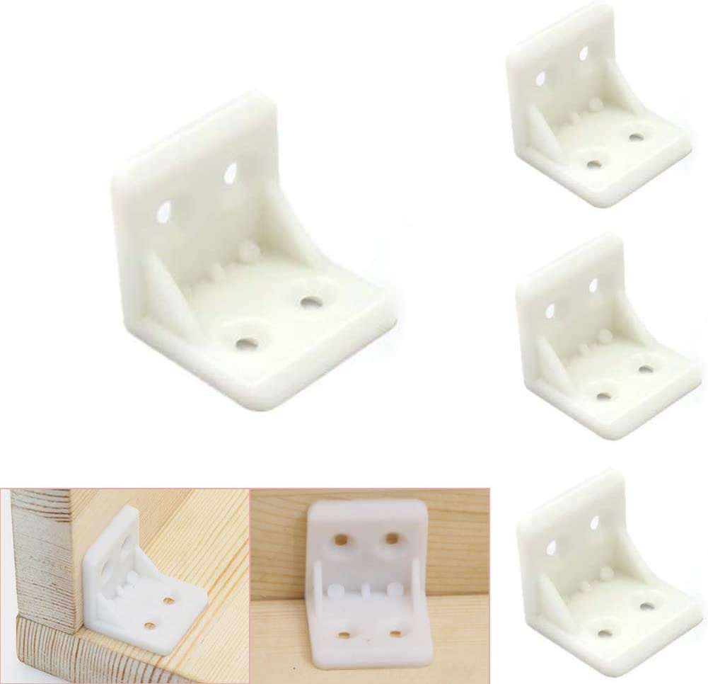 Luckycivia 30Pcs Plastic Furniture Corner Brace, 4-Hole Right Angle Board Holder, L Shape Bracket, Shelf Support Corner Brace (White)