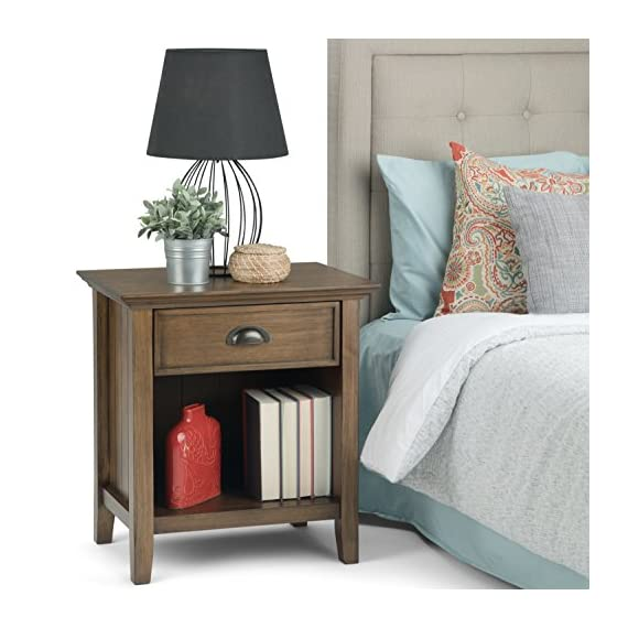 Simpli Home Acadian Solid Wood 24 inch Wide Rustic Bedside Nightstand Table in Rustic Natural Aged Brown - Handcrafted with care using the finest quality solid wood Finished with a Rustic Natural Aged Brown stain with a protective NC lacquer Features one (1) spacious drawer and open bottom storage area - living-room-furniture, living-room, end-tables - 51vd5gnYNwL. SS570  -